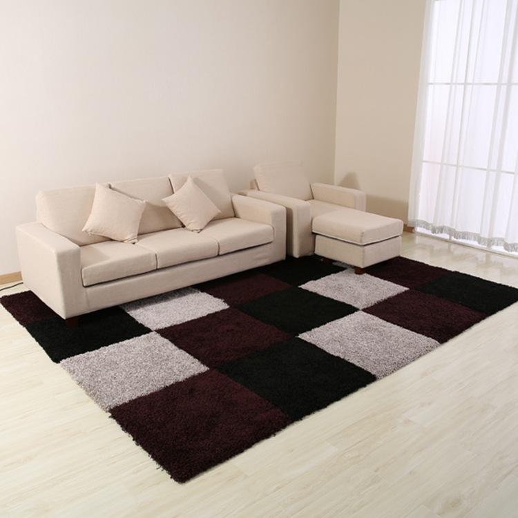 新款时尚黑色高档拼块客厅茶几沙发卧室大地毯地垫