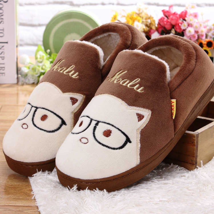 卡通猫咪可爱棉鞋 冬季新款棉拖鞋情侣家居鞋