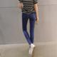 2017秋季新款韩版修身显瘦九分破洞牛仔紧身弹力铅笔小脚裤女