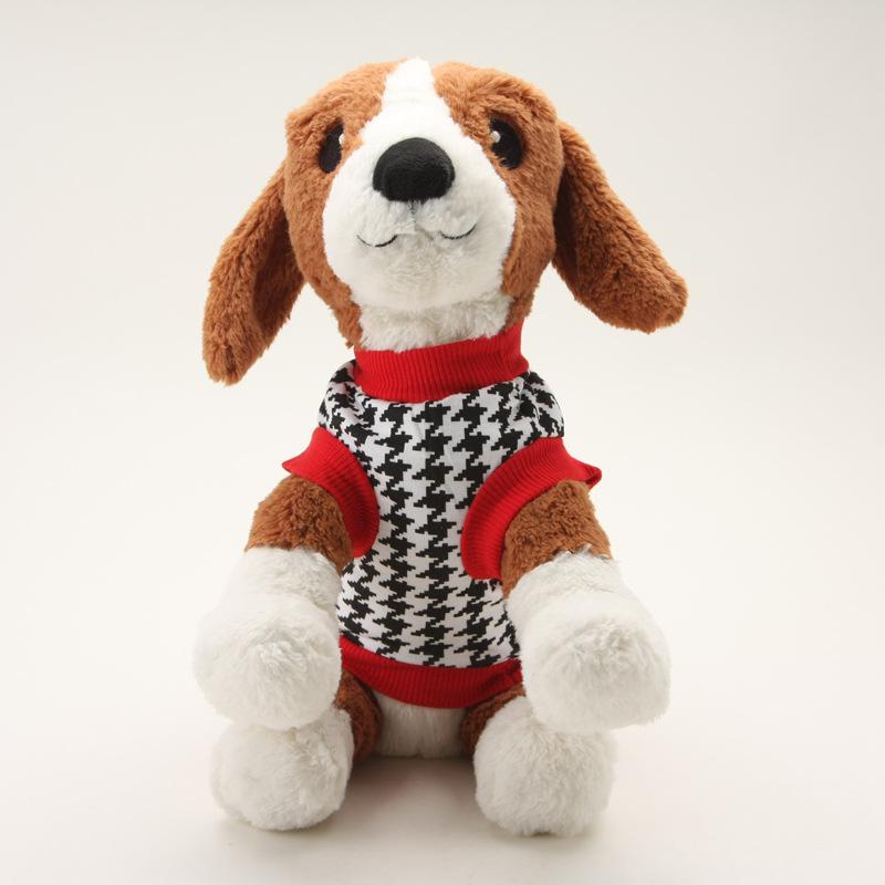 夏季新品上市 全棉狗狗服饰黑白满印可千鸟样式小狗衣服图片