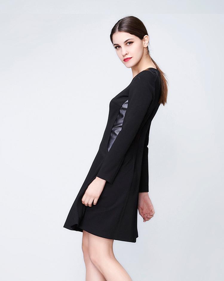 高档女装_高档女装2016春夏新款纯色修身连衣裙欧美风圆领长袖