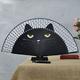 热销卡通猫烤漆柄真丝创意手绘猫扇日本女式竹叠折扇子工艺品