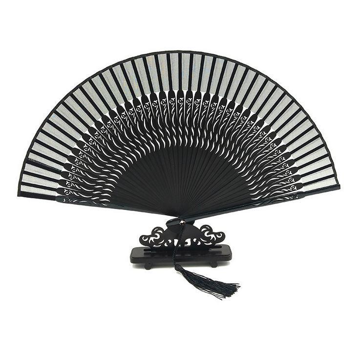 扇子折扇中国风古风夏季镂空真丝烤漆日用手工*礼品工艺品折叠扇