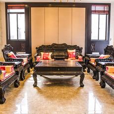 犀牛角红木沙发组合11件套紫光檀客厅张家港紫光檀家具可订制红高棉高档红木厂家直销