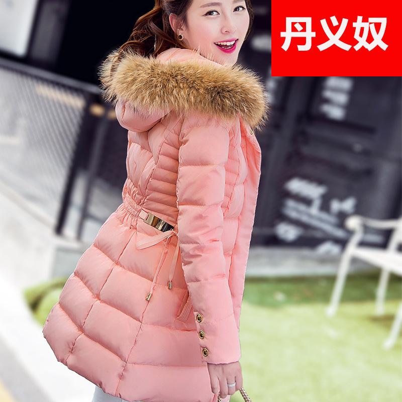厂家直销羽绒服女中长款大毛领韩版新款修身冬装加厚连帽风衣外套