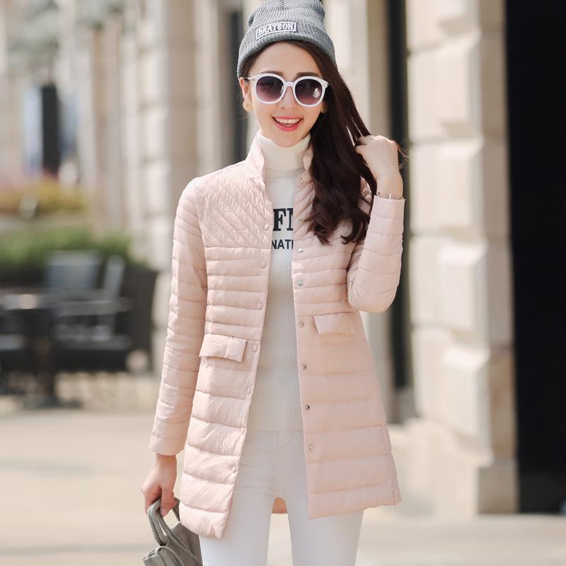 2016新款冬装女韩版修身轻薄羽绒服女中长款大码女装外套一件代发