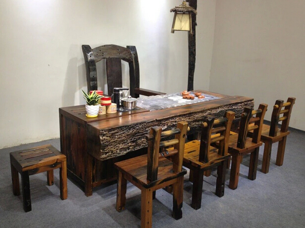 老船木茶台 原生态实木茶桌椅组合功夫茶台 厂家直销