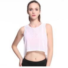 春夏韩版镂空背心式健身服纯色跑步瑜伽上衣宽松网纱运动罩衫女