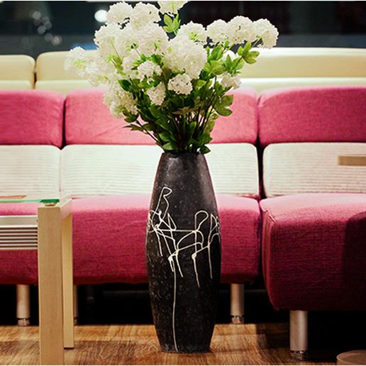 供应落地陶瓷中式新款大花瓶手工家居饰品客厅大黑色插花干花器