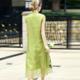 2017春夏 女装新款 中国风 改良款重工刺绣立领短袖真丝连衣裙
