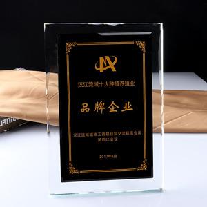 水晶授权牌 特许加盟牌 水晶扁牌 创意新款水晶奖牌定制