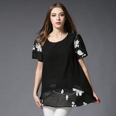 欧美加大码女装胖mm显瘦短袖上衣宽松假两件绣花雪纺衫一件代发货