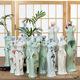厂家直销新款中国风旗袍青瓷纯手工手绘花瓶花插摆件家居摆件批发