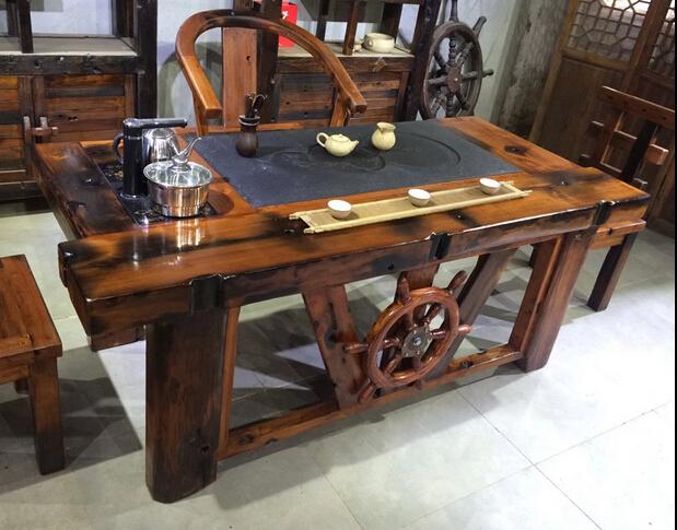 老船木家具茶桌茶台沉船木茶几实木功夫泡茶桌椅组合