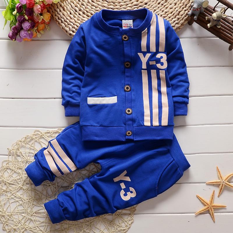 2015秋款小雨儿男童装 韩版婴儿长袖童套装 纯棉Y-3套装一件代发