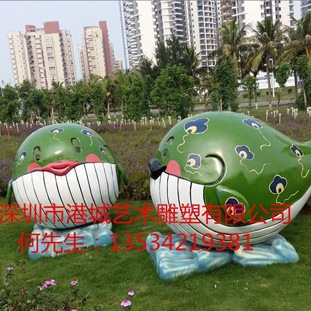 三亚仿真海洋生物雕塑 楼盘装饰玻璃钢鲸鱼雕塑
