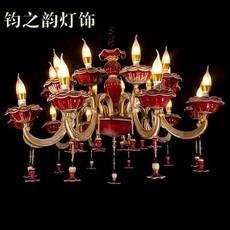 欧式 大气炉红釉钧瓷吊灯 客厅卧室餐厅时光10头灯饰