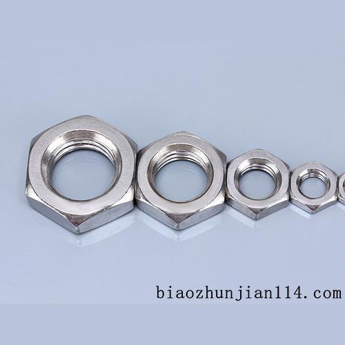 供应304美制不锈钢六角螺母 美标薄螺帽 扁薄螺母 薄螺母 1/4至1