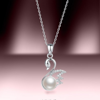 珍珠批发 S925银镶天然珍珠吊坠天鹅湖BYD351