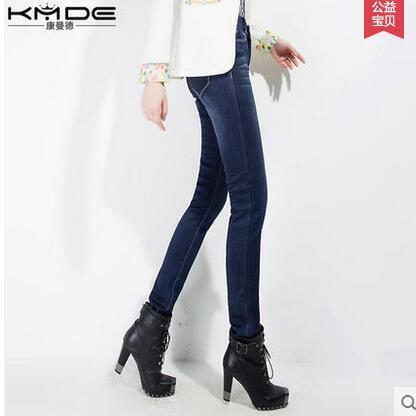 康曼德冬季新款女装显瘦加绒加厚牛仔裤女长款小脚裤长裤子女裤