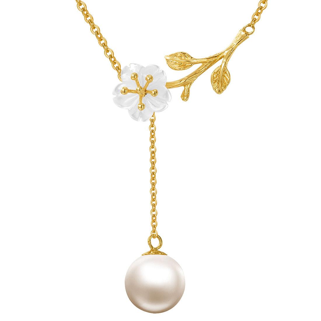 北海珍珠批发   黄18K金淡水珍珠贝壳坠链