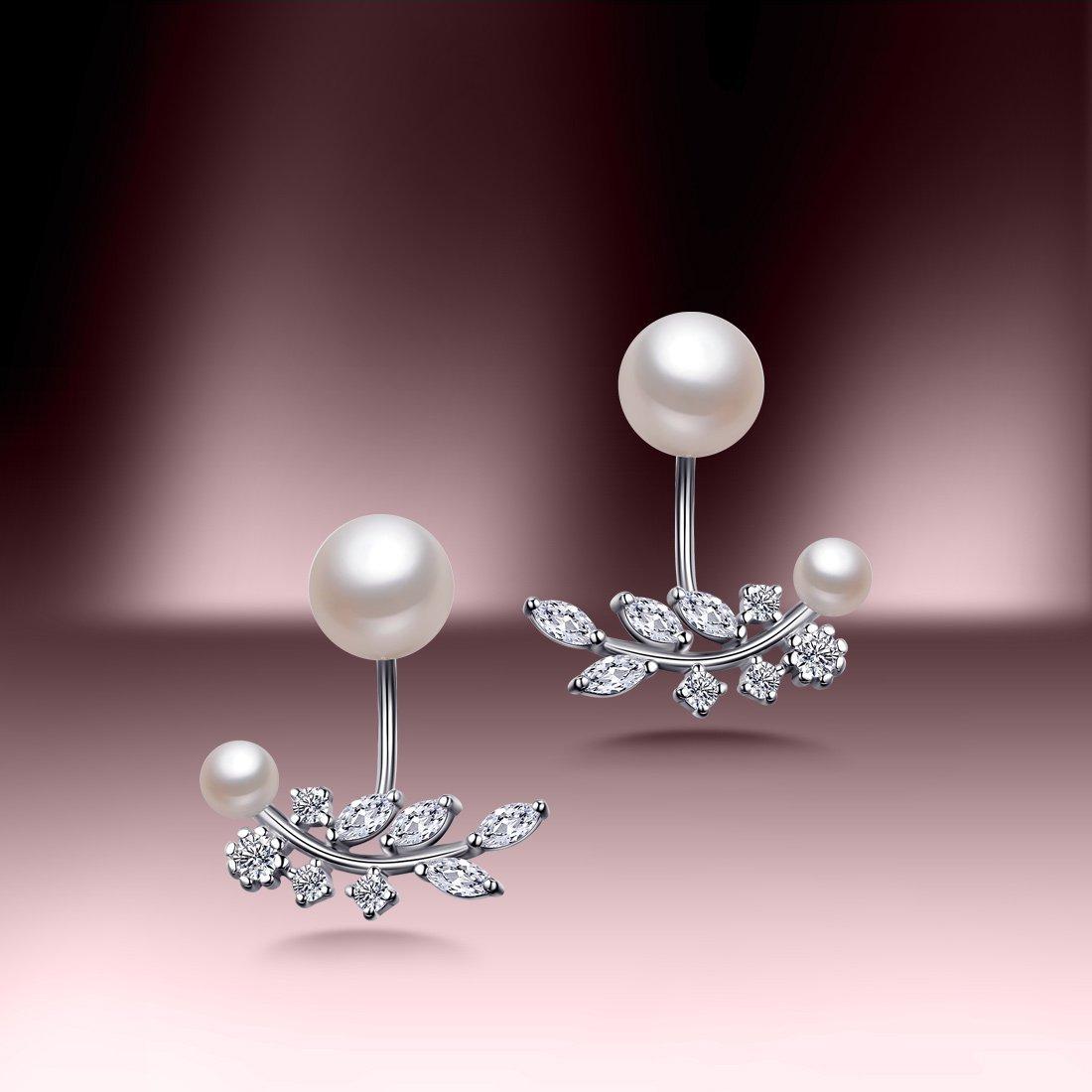 北海珍珠批发  925银镶天然珍珠耳钉优雅BYE365