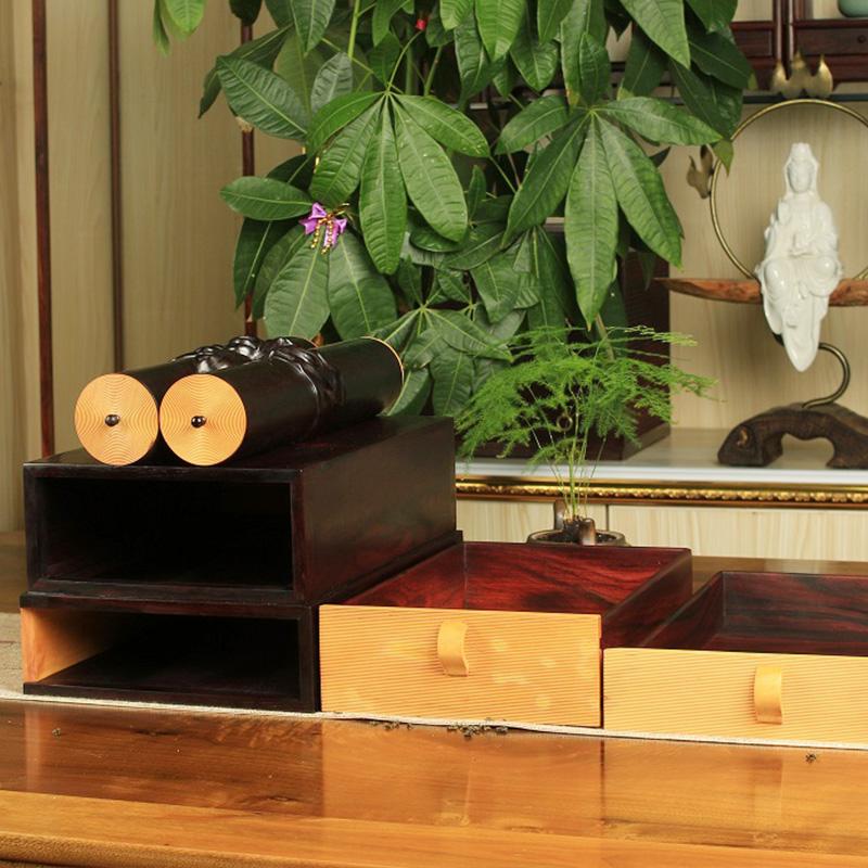 双木之家紫檀红木工艺品香筒双层茶盒首饰箱厂家直销