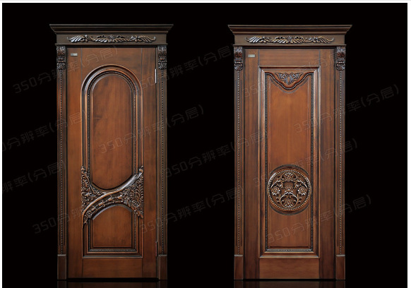 实木雕花门 红橡原木门 黑胡桃原木门 实木欧式扣线门