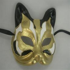 深圳面具厂家直销装扮舞会动物面具手绘猫脸纸浆面具
