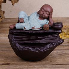 睡梦小沙弥流香炉 创意茶道静心流香薰炉 紫砂陶瓷香炉工艺品