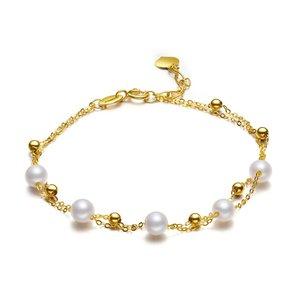 供应  北海珍珠手链批发时髦女神范 18K金优雅双层珍珠手链