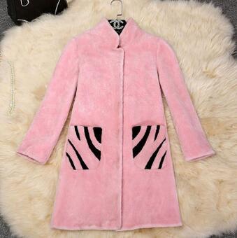 供应 冬新款韩版羊羔毛皮毛一体皮草大衣 斑马纹长款羊剪绒外套女