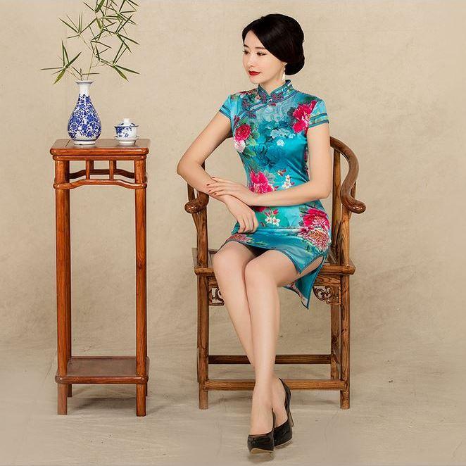 2017蓝色短款桑蚕丝旗袍批发短袖立领真丝旗袍连衣裙8763一件代发