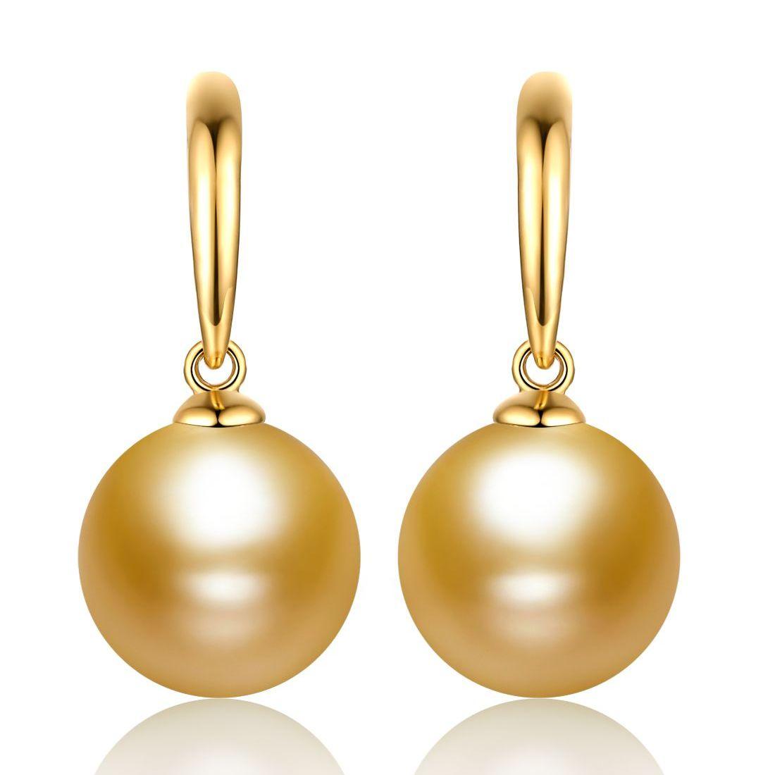 珍珠批发  南洋珍珠10-11mm南洋金色珍珠18K金耳钉