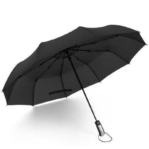 供应【企业定制广告伞】10骨素色男士商务折叠伞全自动三折广告晴雨伞
