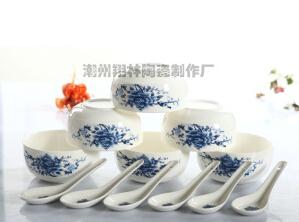 厂家直销 12头青花瓷餐具 碗勺套装 礼品碗 陶瓷餐具冲量特供