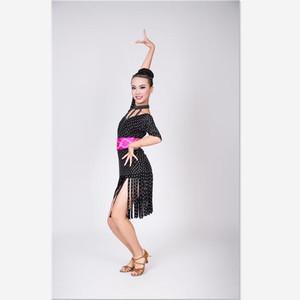 供应2016新款黑裙白点拉丁舞蹈服比赛演出服