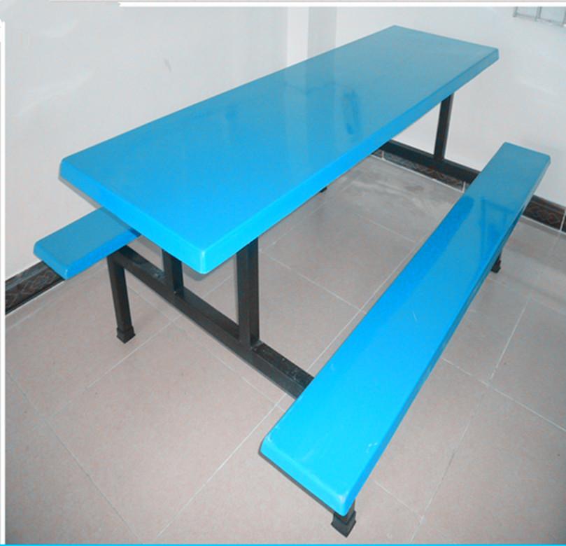 厂家供应连体6人餐桌椅-经久耐用广州玻璃钢餐桌椅-惠州餐桌椅