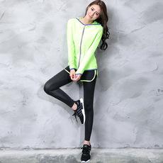 秋冬外套瑜伽服套装运动休闲防震文胸速干健身套装女三件套跑步女