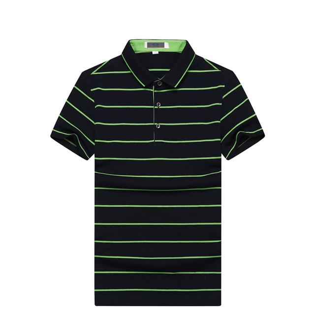 供应 总长无锡工作服定制男士夏季纯棉绿色条纹POLO衫纯棉衬衫