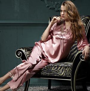女士真丝七分袖性感柔滑丝质睡衣
