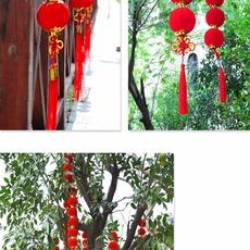 大红塑料 纸串灯笼 蜂窝灯笼 平安灯笼串 结婚灯笼 过年装饰灯笼