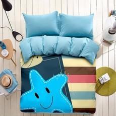 必有格 双面磨毛四件套卡通时尚魔术床上用品被套床单个性海星星