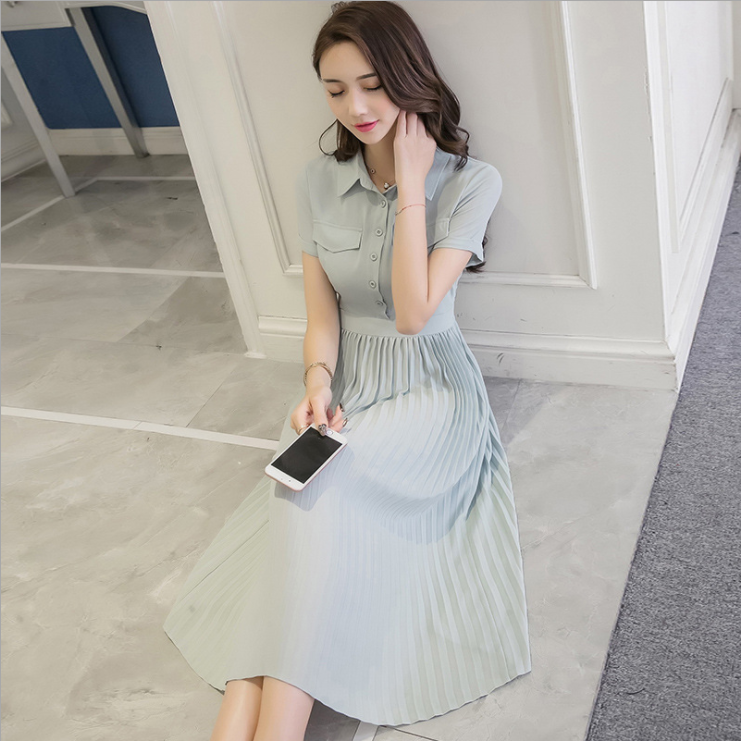 韩版女装 百褶连衣裙 网红2017夏装 新款时尚翻领收腰显瘦女裙