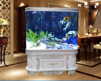 欧式双圆弧鱼缸 生态水族箱图片