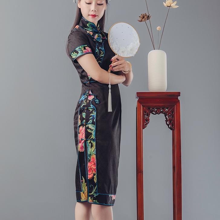锦时工坊  四时如意  提花香云纱拼接如意云头纹开襟旗袍