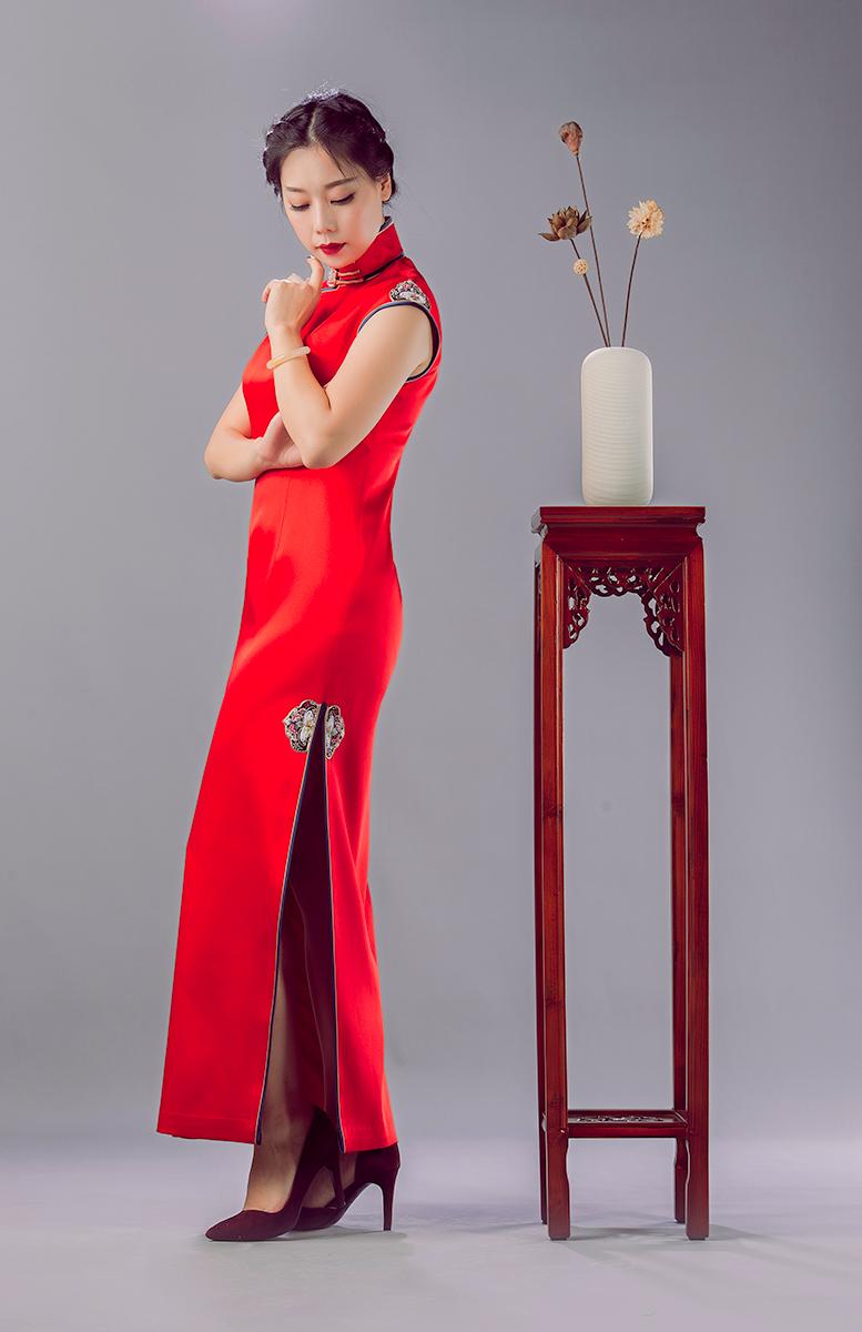 锦时工坊  喜上眉梢   重磅缎手工刺绣婚服旗袍