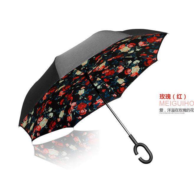 新款自动免持反向伞 创意c型双层免持式雨伞可站立式伞反向伞定制
