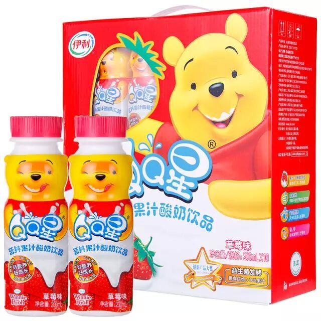 伊利 QQ星营养果汁酸奶饮品草莓味200mlx16