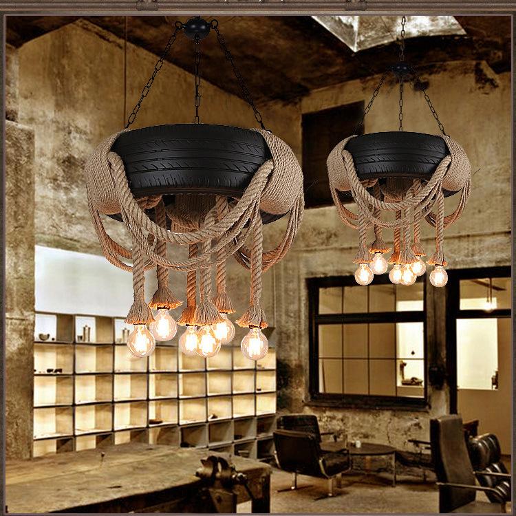 厂家批发 个性创意麻绳轮胎吊灯工业餐厅咖啡厅服装店复古装饰图片